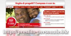 Screenshot della pagina del prestito Compass per stranieri