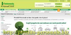 Istantanea dal sito sui prestiti on line di Findomestic Banca