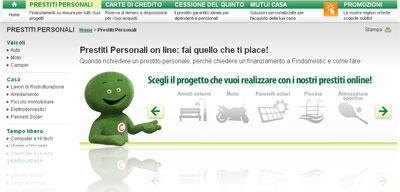 Prestiti online Findomestic: istantanea dal sito Web della finanziaria