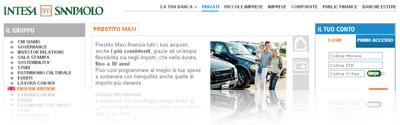 Prestito Maxi Intesa SanPaolo: snapshot dal sito della banca