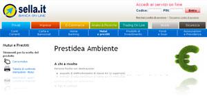 Prestidea Ambiente di Banca Sella: istantanea dal sito ufficiale