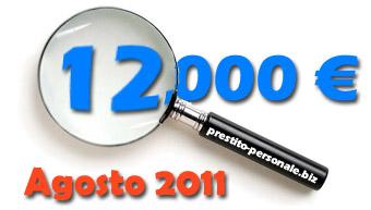 Confronto prestiti di 12.000 euro di Agosto 2011