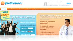 Home Page di Prestiamoci.it con tasso al 7,50%