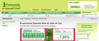 Prestiti personali Findomestic: promozione Speciale Web