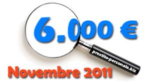 Miglior prestito di 6.000 euro a Novembre 2011: a confronto 4 offerte