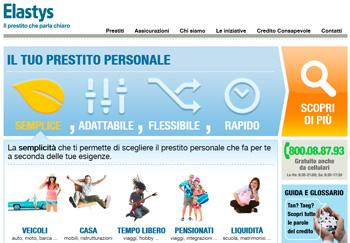 Prestiti Elastys.it: istantanea della nuova Home Page