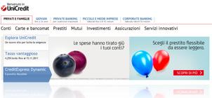 Dal sito UniCredit: promozione prestito personale CreditExpress Dynamic