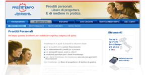 Nuova linea di prestiti personali Prestitempo: istantanea dalla pagina Internet