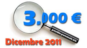 Piccolo Prestito di 3.000 euro a Dicembre 2011