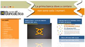Banca Popolare Etica: istantanea dall'Home Page del sito Internet