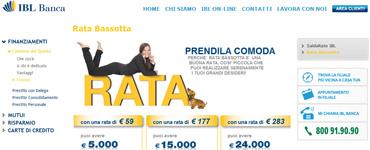 Rata Bassotta IBL Banca: istantanea dalla pagina della promozione 2012