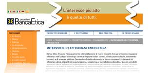 Credito al Minor Consumo di Banca Etica: pagina Web del finanziamento