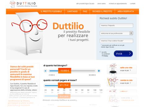 Duttlio Agos Ducato: nuova grafica del sito - Istantanea dalla Home Page