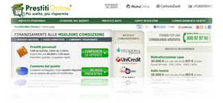 PrestitiOnline.it: istantanea dall'Home Page del sito