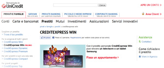Promozione CreditExpress Win di UniCredit: istantanea dal sito Internet