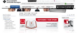 Prestito personale Libri ZERO di Bper: pagina Internet