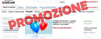 Prestito CreditExpress Dynamic di UniCredit in promozione