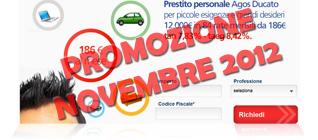 Prestiti Agos Ducato in promozione a Novembre 2012