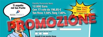 Promozione prestiti personali Neos Finance a zero spese e tassi bassi
