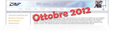 Barometro CRIF Ottobre 2012: dati sulla domanda di prestiti delle famiglie