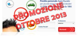 Promozioni prestiti Agos Ducato Duttilio Offerta Ottobre 2013