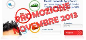 Promozioni prestiti Agos Ducato Duttilio Offerta Novembre 2013