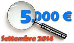 Confronto prestiti personali da 5000 euro di Settembre 2014